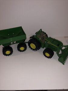 ERTL John Deere Tractor Front End Loader & Hopper Trailer Farm Toy Set