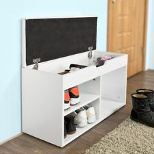SoBuy® Home Shoe Storage Bench Cabinet,Shoe Rack with Padded Seat, FSR27-W, UK