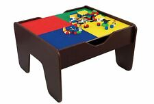 KidKraft Espresso 2-in-1 Activity Table Lego Board Set Kids Children Toy Games