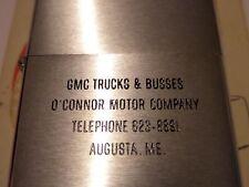 UNFIRED VINTAGE ZIPPO GMC TRUCKS & BUSES O'CONNOR MOTOR COMPANY PAT 2517191