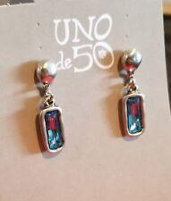 Uno De 50 Earrings with Blue Swarovski Stones
