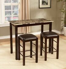 """3 Piece Marble Table Stool Pub Bar Set Wood Chairs 42"""" x 22"""" x 36"""" Home Bistro"""