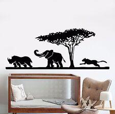 Vinyl Wall Decal African Elephant Animals Rhino Leopard Safari Stickers (920ig)