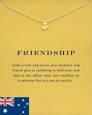 18K Gold Plated Dainty Anchor Friendship Inspirational Message Pendant Necklace