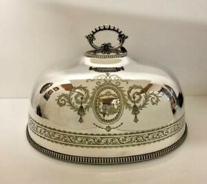 Antique Victorian Food Cover English Plate Dome Silver Serving Dish 19th century