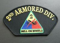 2ND ARMORED DIVISION HELL ON WHEELS US ARMY HAT CAP STYLE PATCH 3 X 5.25 INCHES