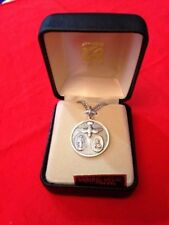 """"""" HOLY SPIRIT SCAPULAR"""" STERLING SILVER Medal 20"""" Chain by CREED   Boxed SS#462"""