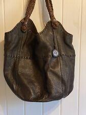 The Sak Indio Leather Tote Bag Hobo Purse Dark Brown