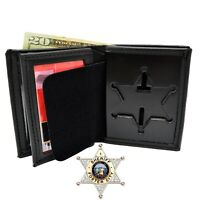 Perfect Fit 6 Point Sheriff Star Badge Wallet Recessed Cutout B812 S534