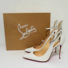 Christian Louboutin Mascara 100 Pumps White Leather Size 36.5 High-Back Heel NEW