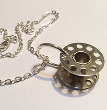 Vintage Cotton Bobbin Necklace Steampunk Recycled Silver Metal Sewing Part Goth