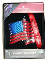 Christmas Tree Ornament SUPPORT TROOPS FLAG made Swarvoski Crystal Harvey Lewis
