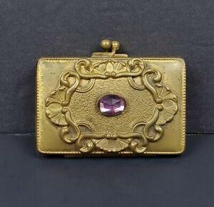 Antique Art Nouveau Deco Ladies Gold Solid Brass COIN PURSE Holder Purple Stone