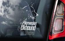 Norwegian Elkhound Car Sticker, Norsk Elghund Dog Window Sign Decal Gift - V03