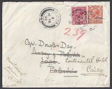 UK GB PALESTINE EGYPT 1922 REROUTED COVER FROM NORTHAPTON HAIFA 15 FE 22 & JAFFA