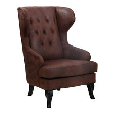 Classic Chesterfield Birchwood Fireside Wing Arm Chair Brown Leather Effect New