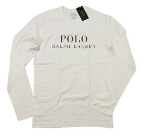 Polo Ralph Lauren Men's White Logo Graphic Crew-Neck Long Sleeve Sleep T-Shirt
