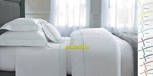 Yves Delorme Athena Glace KING Duvet Cover White Blue Stripes Cotton $600 NEW
