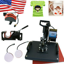 5 In 1 Heat Press Machine Digital Transfer Sublimation DIY T-Shirt Mug Hat 1250W