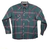 Wrangler Mens XL Long Sleeve Pearl Snap Multi-Color Plaid Check Western Shirt