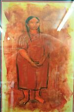 """Original  Acrylic Painting byTed Jaslow """"Mexican Girl"""" 1967-68"""