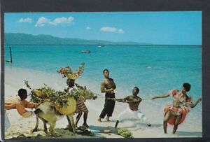 Jamaica Postcard - Cast of The Native Floor Show Rehearsing on The Beach T7298
