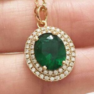 4 Ct Oval Cut Green Emerald Diamond Halo Pendant Necklace 14K Yellow Gold Finish