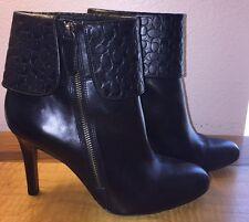 "Women's COACH ""Mackenna"" Black Soft Leather Heel Bootie w/Logo Cuff Size 10B"