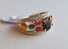Genuine Sapphire Ruby Emerald 18k Gold 925 Sterling Silver Ring -Size 8 NOS