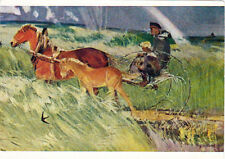 1962 RARE Soviet Russian postcard Man Boy Horse and Foal by V.Zagonek