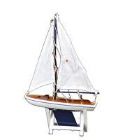 "Blue and White Model Ship Sailboat 12""H Decorative Wooden Cloth Sails Ocean Sea"