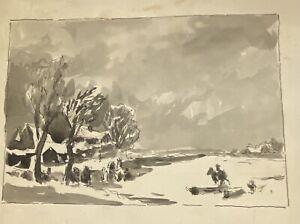 Connecticut Artist Robert Hogg Nisbet Pen & Ink Watercolor from Nisbet Estate