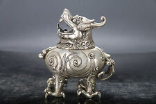 EXQUISITE SILVER COPPER CARVING INCENSE BURNER QING DYNASTY MARK ION LID