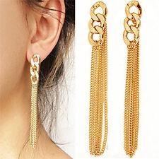 Elegant Dress Golden Tassel Chain Earrings Lady Retro Long Chain Drop Earrings