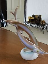 Vintage porcelain antique Art deco retro HAND PAINTED Sturgeon FISH HOLLOHAZA