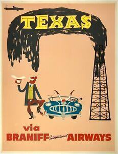 Original Vintage Poster TEXAS BRANIFF INTERNATIONAL AIRWAYS Airline Travel LINEN
