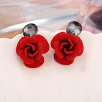 Fashion Charm WaterDrop Crystal Flower Earrings Red Rose Earrings Women Jewelry