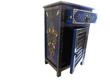 Moroccan Navy Blue Dresser Nightstand End Table Arabic Design Furniture
