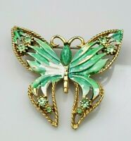 Vintage Green Rhinestone Enamel Butterfly Brooch Pin Stone Gold Tone Filigree