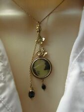 Pilgrim Vintage Gold Colour Necklace Silhouette Cameo Pendant and Flower Charms