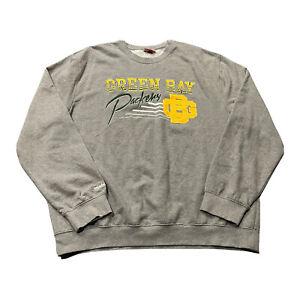 Men's Mitchell & Ness Green Bay Packers NFL Gray Crewneck Sweatshirt Sz 4XL GUC