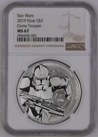 2019 NIUE 1 OZ $2 STAR WARS - CLONE TROOPER - SILVER COIN -  NGC MS67