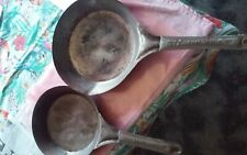 Vintage National Antique Western Country Decor Tin Frying pans no 5 and No 2