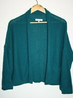 Peacocks Women's Turquoise 1/2 Sleeve Open Chunky Knit Knitwear Cardigan Size 8