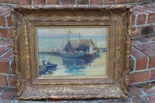 Hand Carved Frame Antique Fishing Hut Oil Painting Original Picture Boat Village
