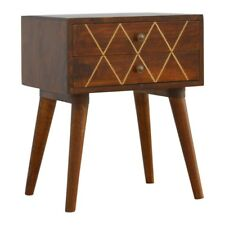 Scandinavian Style Dark Wood With Gold Inlay Detail Bedside Table / Side Table