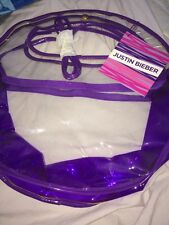 Justin Bieber Promotional EDP Fragrance Clear  Purple Satchel Bag 15x10x5 NWT