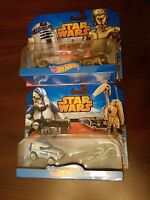 2 Hot Wheels STAR WARS Character Car 2 Pk R2-D2 & C-3PO, Clone Trooper & Battle