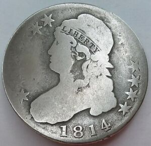 1814 Capped Bust Half Dollar Well Circulated, No Problems, No Reserve Auction