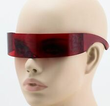 Alien Outter Space Robotic Warp Around Futuristic Cyclops SHIELD SUN GLASSES Red